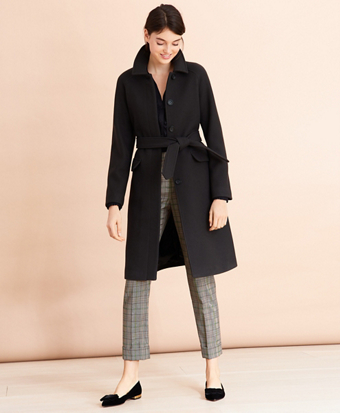 Water-Repellent Stretch-Wool Twill Trench Coat