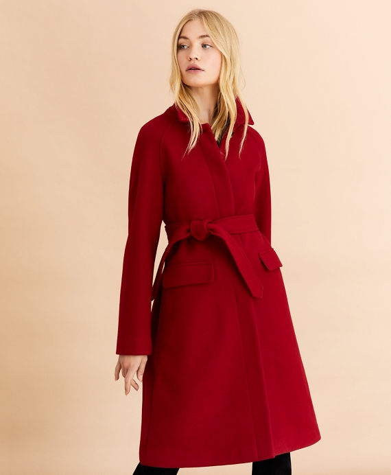 Water-Repellent Stretch-Wool Twill Trench Coat Red