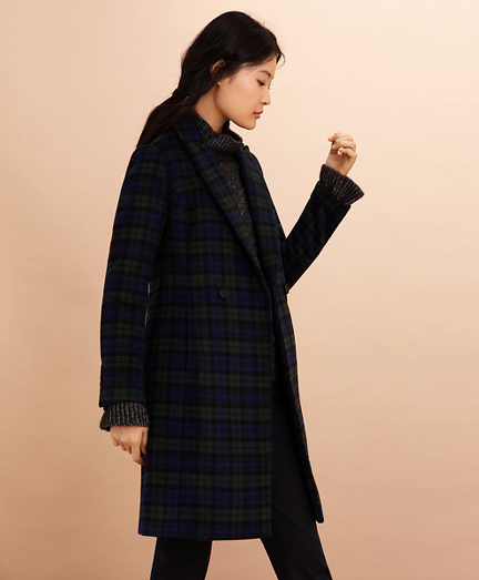 Black Watch Tartan Wool-Blend Double-Breasted Coat