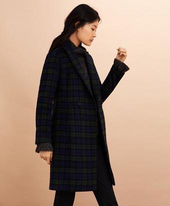 Black Watch Tartan Wool-Blend Double-Breasted Coat