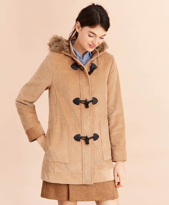 Water-Repellent Cotton Corduroy Duffle Coat Khaki