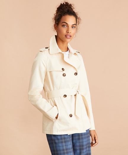 Water-Repellent Cotton Twill Trench Jacket