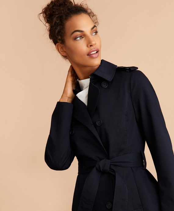Water-Repellent Cotton Twill Trench Jacket Navy