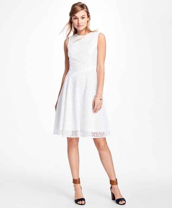 Asymmetrical Lace Dress White