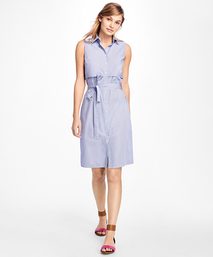 Sleeveless Stripe Cotton Dobby Shirtdress
