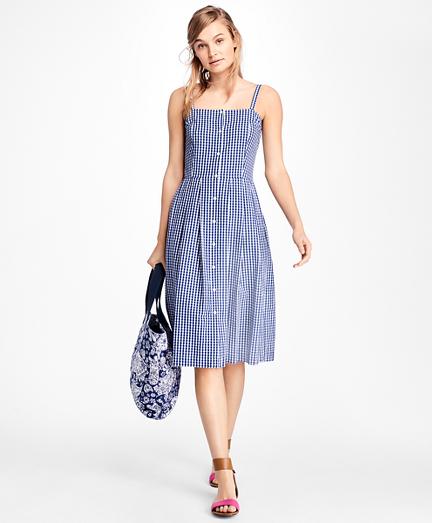 Gingham Cotton Poplin Dress