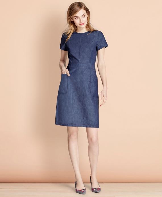 Denim A-Line Dress Blue