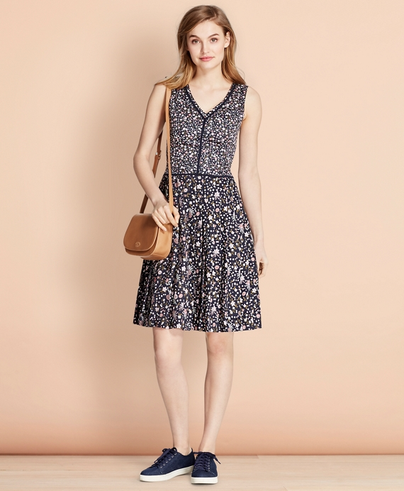 Floral-Print Cotton Sateen Dress Navy-Multi