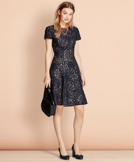 Floral Lace Dress Navy
