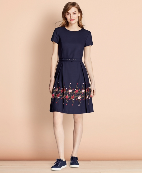 Floral-Embroidered Stretch Wool Dress Navy