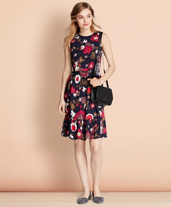 Floral-Print Crepe Dress Navy-Multi