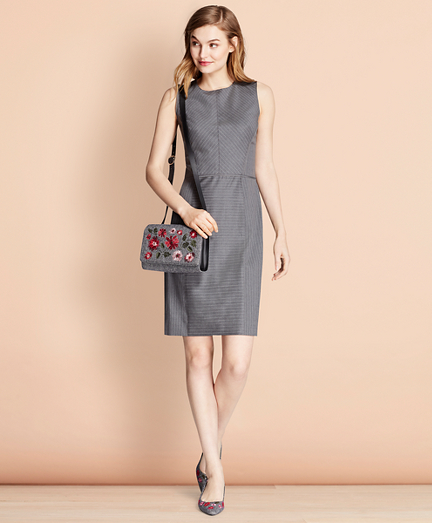 Pinstripe Stretch Wool Sheath Dress