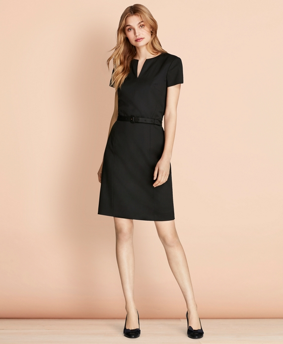 Stretch Wool Sheath Dress Black