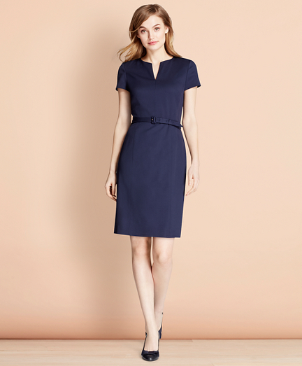 Stretch Wool Sheath Dress
