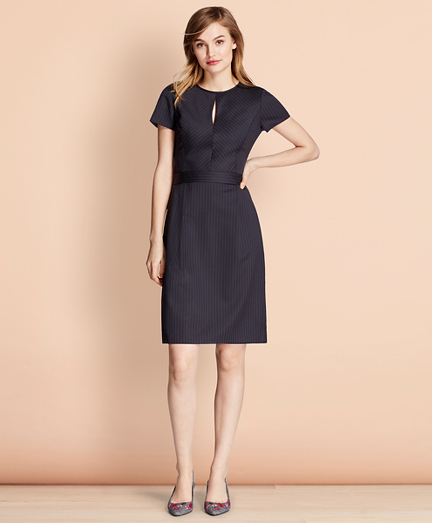Brooksbrothers Pinstripe Stretch Wool Dress