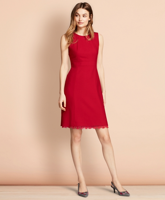 Lace-Trimmed Wool-Blend Sheath Dress Red