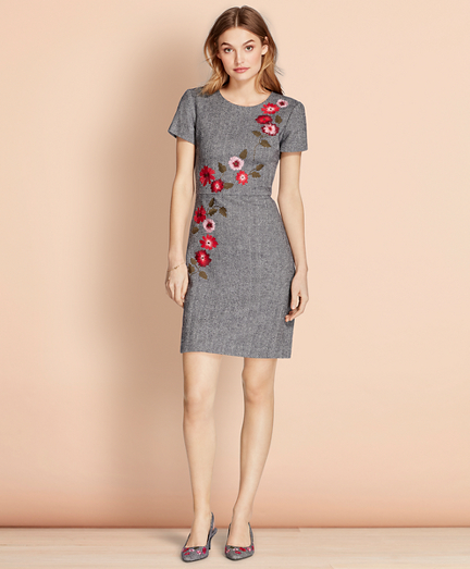 Floral-Embroidered Herringbone Dress