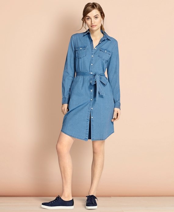 601f91c37de Cotton Chambray Shirt Dress - Brooks Brothers