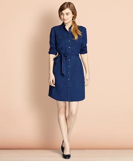 Cotton Chambray Shirt Dress
