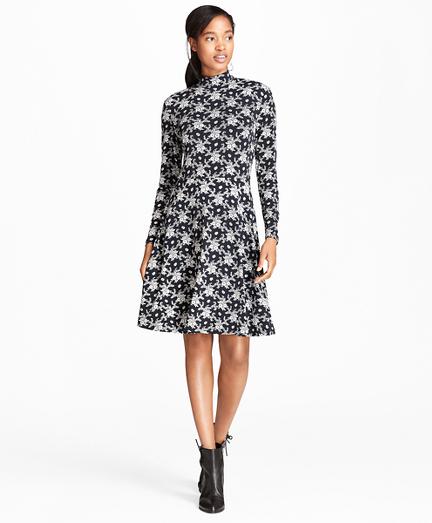 Floral-Print Jersey Mockneck Dress