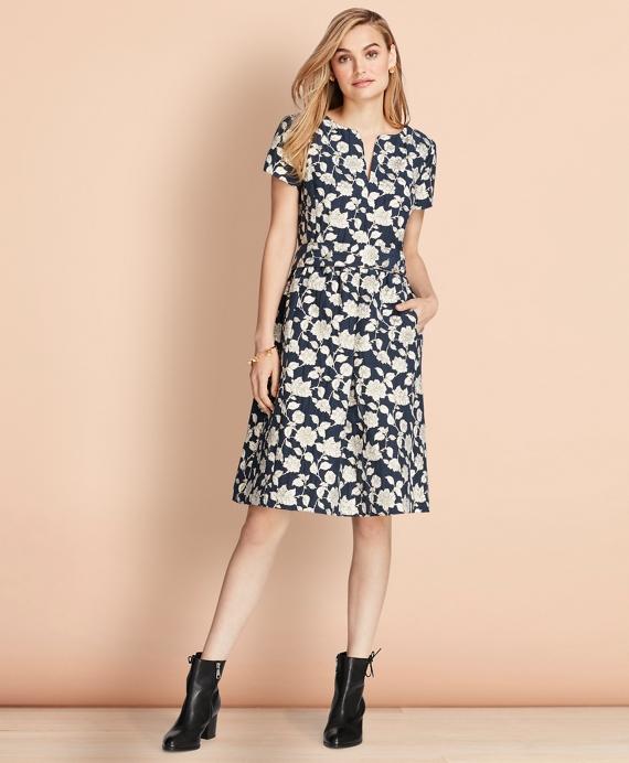 Floral Jacquard Dress Navy