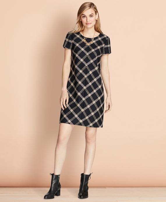 Windowpane Wool Boucle Shift Dress Navy