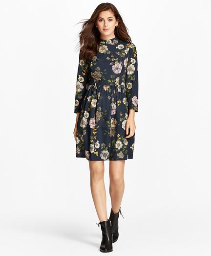 Floral-Print Crepe Mockneck Dress