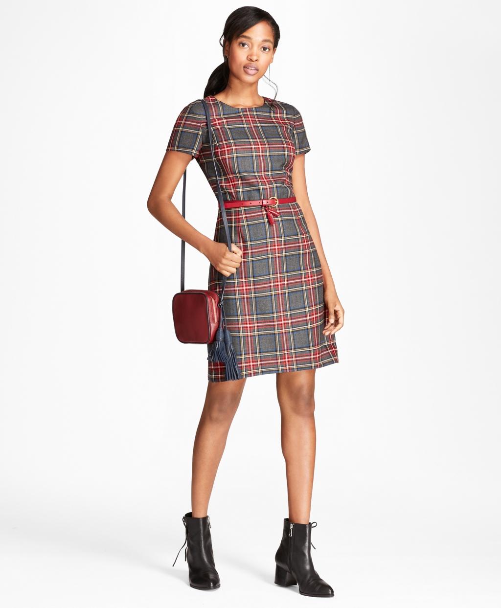 a3c1f178cd2f9 Tartan Wool Twill Shift Dress - Brooks Brothers