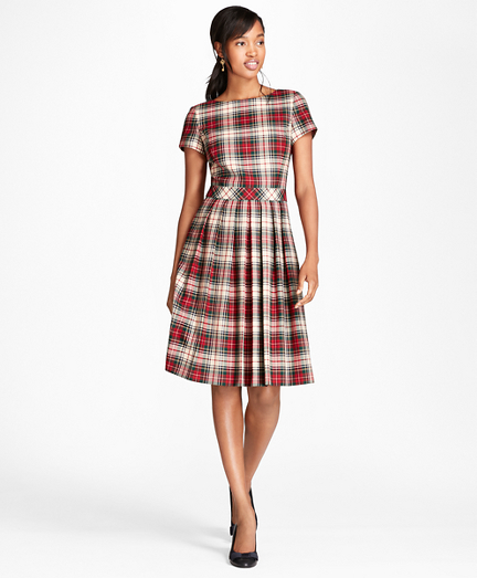 Pleated Tartan Wool Twill Dress