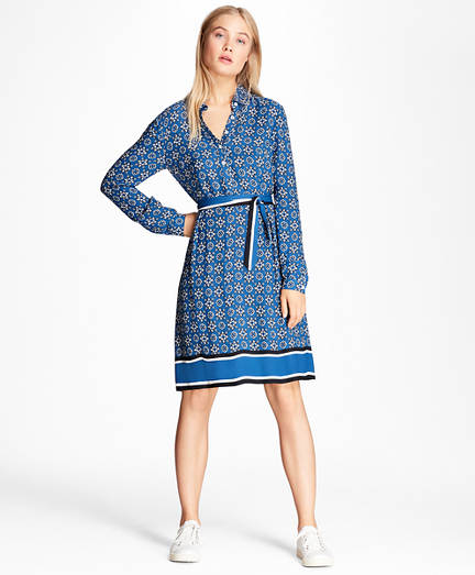 Foulard-Print Crepe Shirt Dress