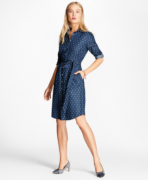 a5468cff585 Anchor-Print Denim Shirt Dress - Brooks Brothers