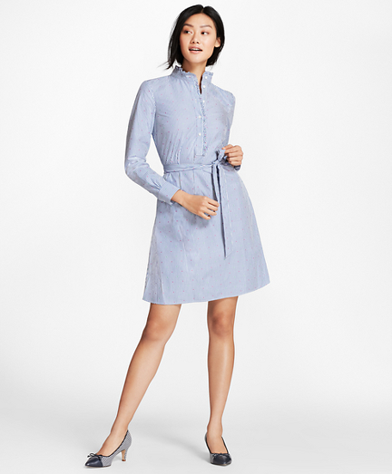 Ruffle-Collar Polka-Dot Dobby Striped Cotton Shirt Dress