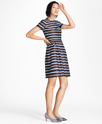 Brooksbrothers Striped Stretch-Cotton Sateen Dress