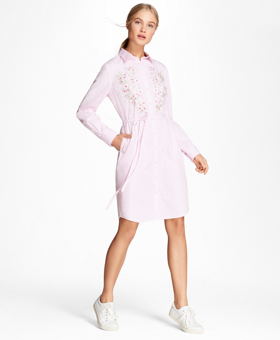 Floral-Embroidered Striped Cotton Poplin Shirt Dress Pink-White