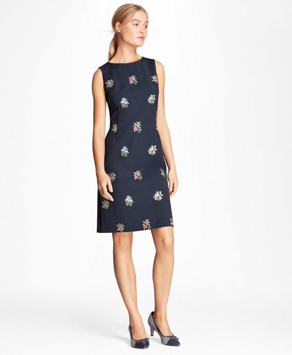 Floral-Embroidered Stretch-Cotton Shift Dress Navy