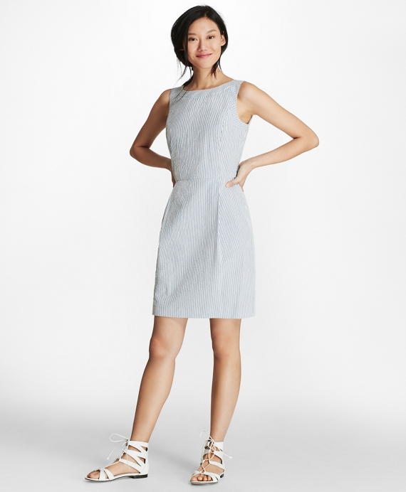 Striped Stretch Cotton Seersucker Sheath Dress Blue-White