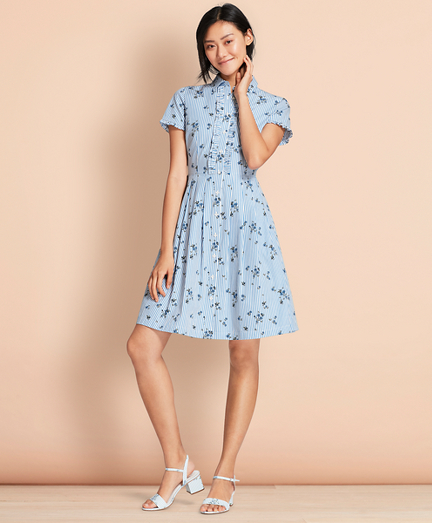 Floral-Print Striped Cotton Poplin Shirt Dress