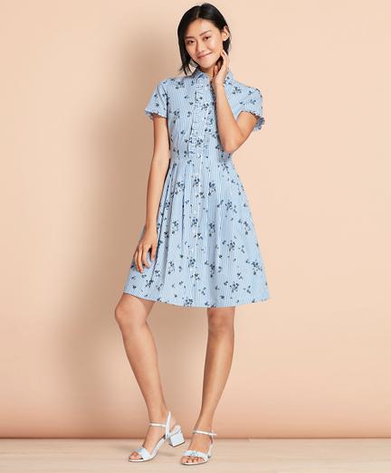 Floral-Print Striped Cotton Poplin Shirt Dress