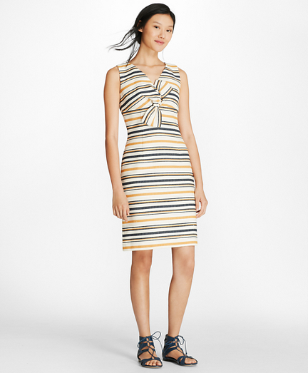 Striped Twist-Detail Sheath Dress
