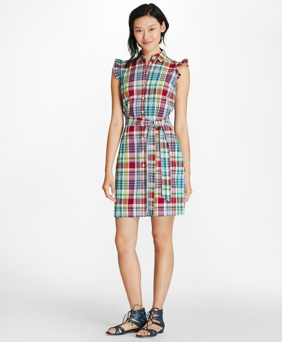 Madras Cotton Seersucker Shirt Dress Multi