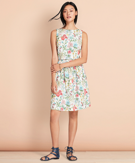 Botanical-Print Stretch Cotton Poplin Three-in-One Dress