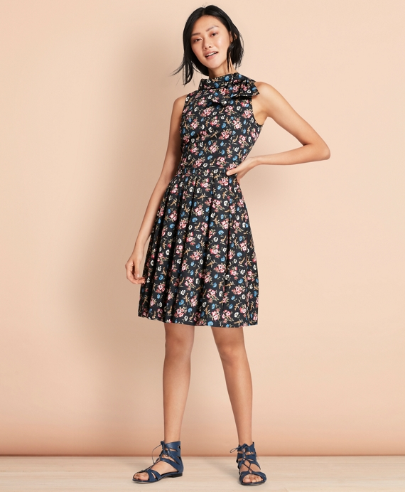 Floral-Print Cotton Sateen Pleated Dress Navy-Multi