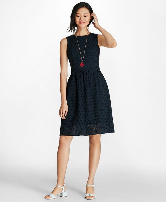 Cotton Eyelet Dress Navy