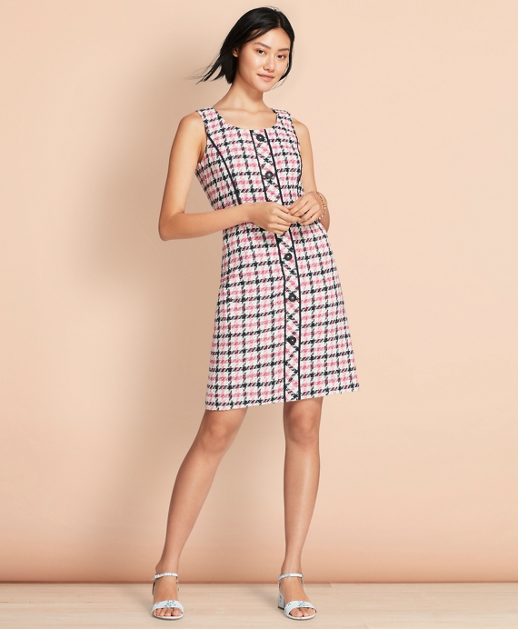 Checked Cotton-Blend Boucle Dress Pink-Black