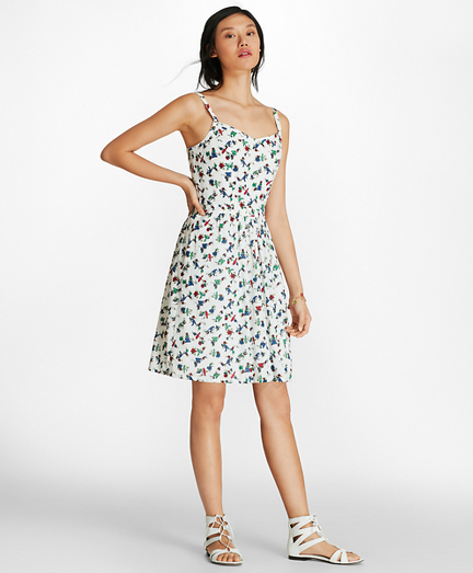 Bird-Print Cotton Swiss Dot Sundress