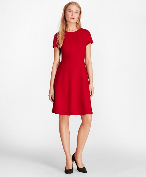 Wool-Blend Twill A-Line Dress Red