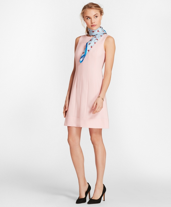 Wool-Blend Twill Shift Dress Light Pink
