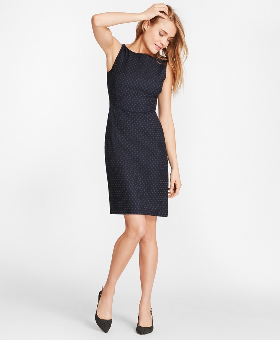Foulard Wool Twill Sheath Dress Navy