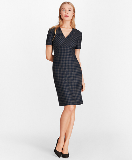 Gingham Wool Twill Sheath Dress