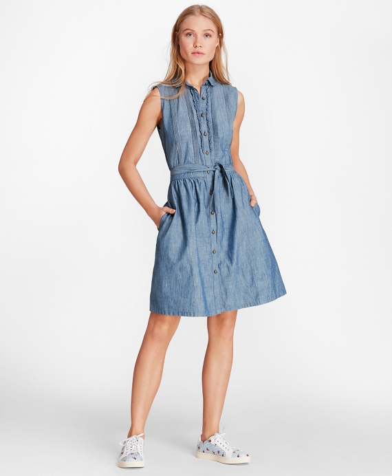 Pintucked Cotton Chambray Shirt Dress Chambray Blue
